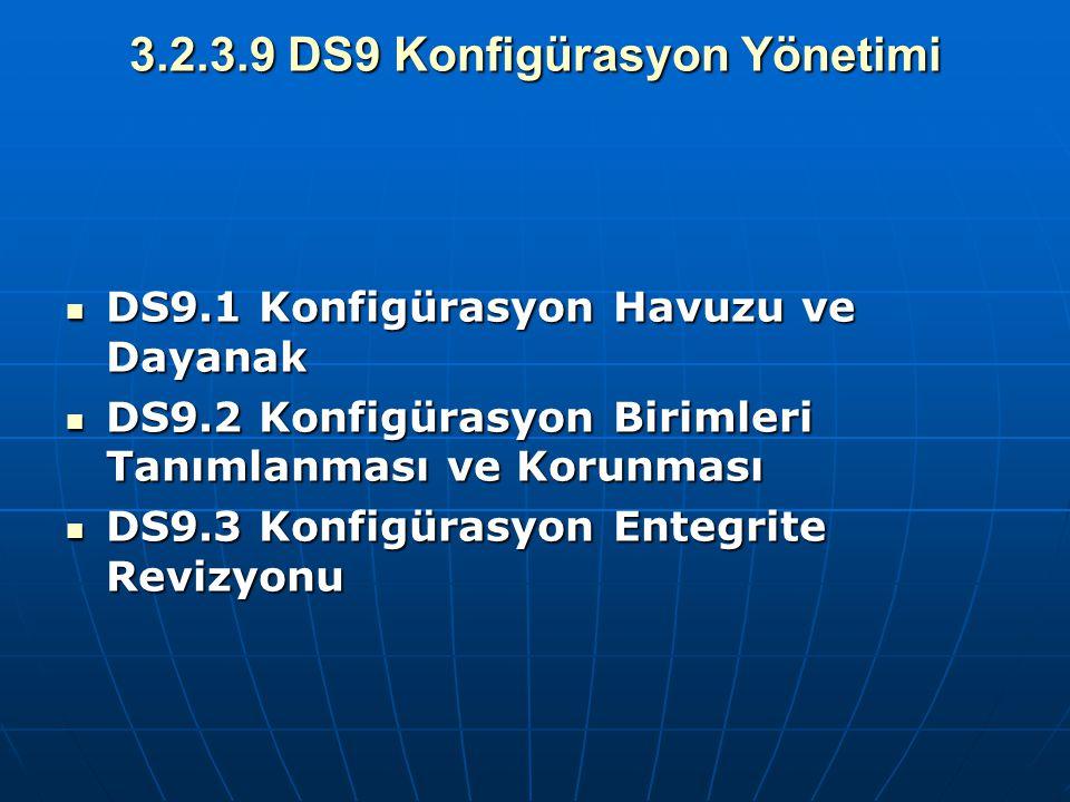 3.2.3.9 DS9 Konfigürasyon Yönetimi DS9.1 Konfigürasyon Havuzu ve Dayanak DS9.1 Konfigürasyon Havuzu ve Dayanak DS9.2 Konfigürasyon Birimleri Tanımlanm