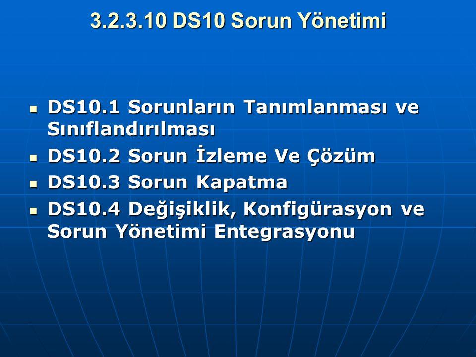 3.2.3.10 DS10 Sorun Yönetimi DS10.1 Sorunların Tanımlanması ve Sınıflandırılması DS10.1 Sorunların Tanımlanması ve Sınıflandırılması DS10.2 Sorun İzle