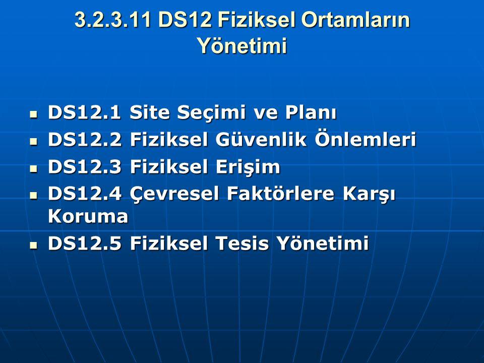 3.2.3.11 DS12 Fiziksel Ortamların Yönetimi DS12.1 Site Seçimi ve Planı DS12.1 Site Seçimi ve Planı DS12.2 Fiziksel Güvenlik Önlemleri DS12.2 Fiziksel