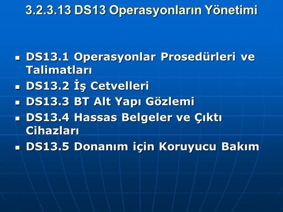 3.2.3.13 DS13 Operasyonların Yönetimi DS13.1 Operasyonlar Prosedürleri ve Talimatları DS13.1 Operasyonlar Prosedürleri ve Talimatları DS13.2 İş Cetvel