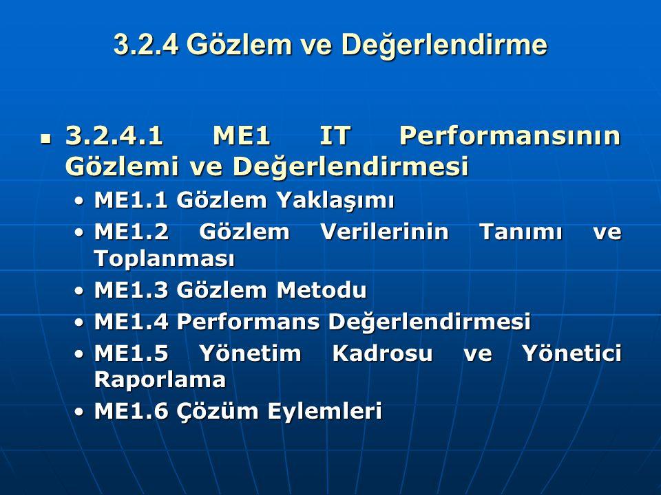 3.2.4 Gözlem ve Değerlendirme 3.2.4.1 ME1 IT Performansının Gözlemi ve Değerlendirmesi 3.2.4.1 ME1 IT Performansının Gözlemi ve Değerlendirmesi ME1.1