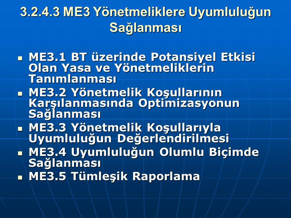 3.2.4.3 ME3 Yönetmeliklere Uyumluluğun Sağlanması ME3.1 BT üzerinde Potansiyel Etkisi Olan Yasa ve Yönetmeliklerin Tanımlanması ME3.1 BT üzerinde Pota