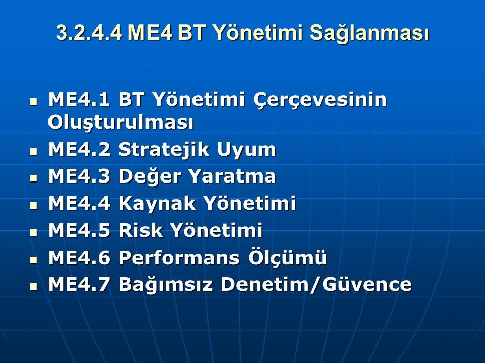 3.2.4.4 ME4 BT Yönetimi Sağlanması ME4.1 BT Yönetimi Çerçevesinin Oluşturulması ME4.1 BT Yönetimi Çerçevesinin Oluşturulması ME4.2 Stratejik Uyum ME4.