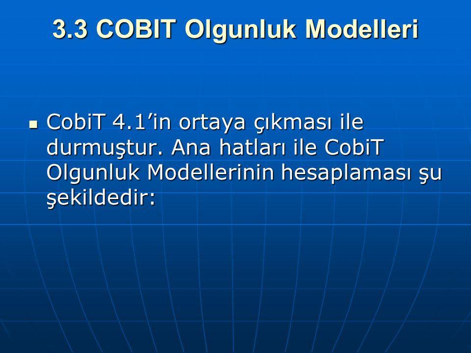 3.3 COBIT Olgunluk Modelleri CobiT 4.1'in ortaya çıkması ile durmuştur. Ana hatları ile CobiT Olgunluk Modellerinin hesaplaması şu şekildedir: CobiT 4