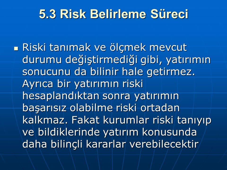 5.3 Risk Belirleme Süreci Riski tanımak ve ölçmek mevcut durumu değiştirmediği gibi, yatırımın sonucunu da bilinir hale getirmez. Ayrıca bir yatırımın