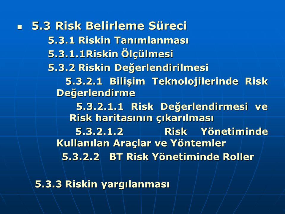 5.3 Risk Belirleme Süreci 5.3 Risk Belirleme Süreci 5.3.1 Riskin Tanımlanması 5.3.1 Riskin Tanımlanması 5.3.1.1Riskin Ölçülmesi 5.3.1.1Riskin Ölçülmes