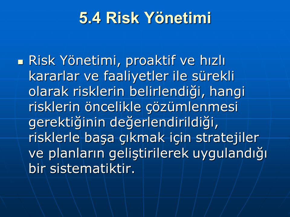 5.4 Risk Yönetimi Risk Yönetimi, proaktif ve hızlı kararlar ve faaliyetler ile sürekli olarak risklerin belirlendiği, hangi risklerin öncelikle çözüml