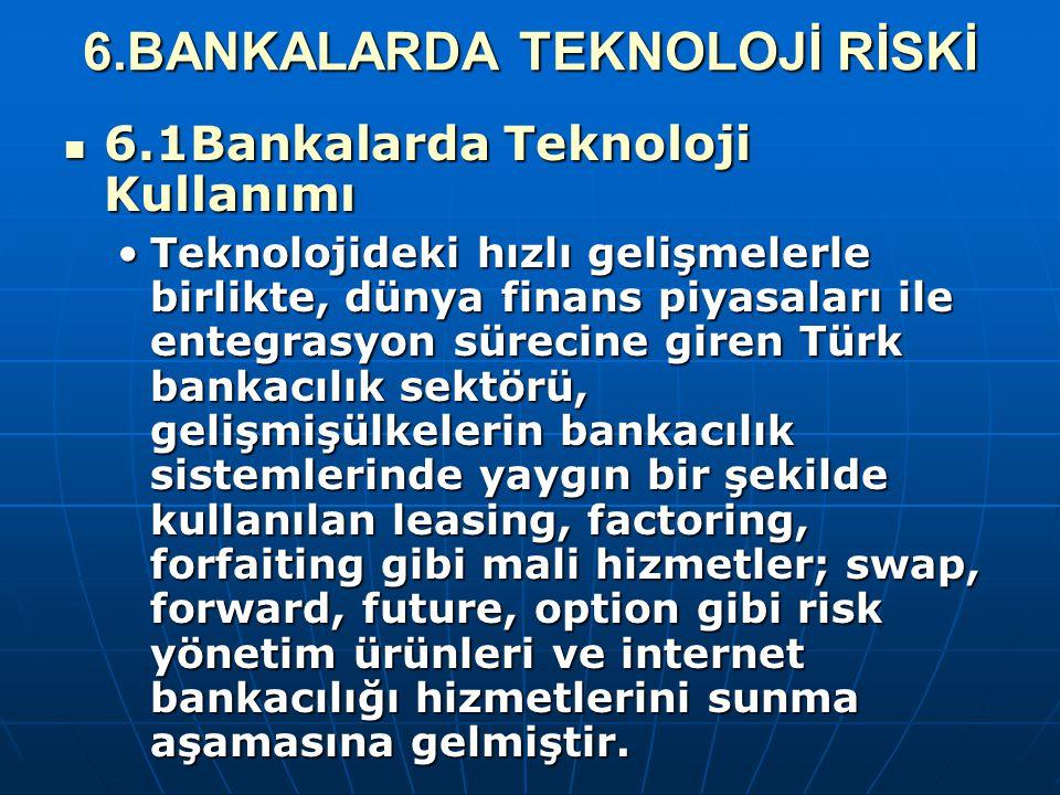 6.BANKALARDA TEKNOLOJİ RİSKİ 6.1Bankalarda Teknoloji Kullanımı 6.1Bankalarda Teknoloji Kullanımı Teknolojideki hızlı gelişmelerle birlikte, dünya fina