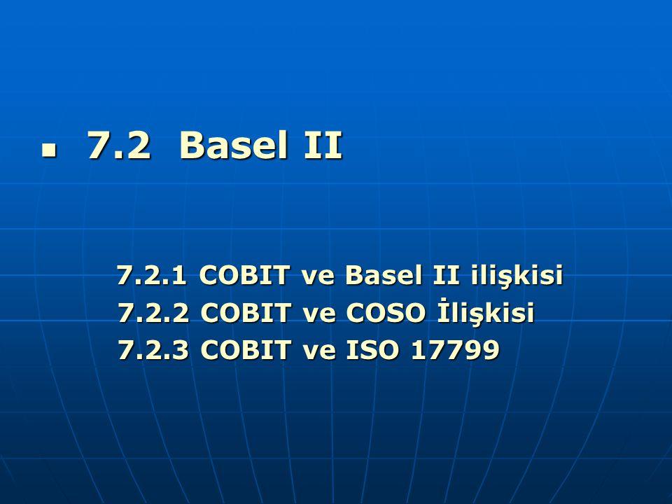 7.2 Basel II 7.2 Basel II 7.2.1 COBIT ve Basel II ilişkisi 7.2.1 COBIT ve Basel II ilişkisi 7.2.2 COBIT ve COSO İlişkisi 7.2.2 COBIT ve COSO İlişkisi