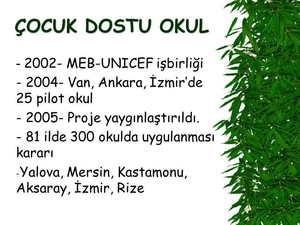 ÇOCUK DOSTU OKUL - 2002- MEB-UNICEF işbirliği - 2004- Van, Ankara, İzmir'de 25 pilot okul - 2005- Proje yaygınlaştırıldı.