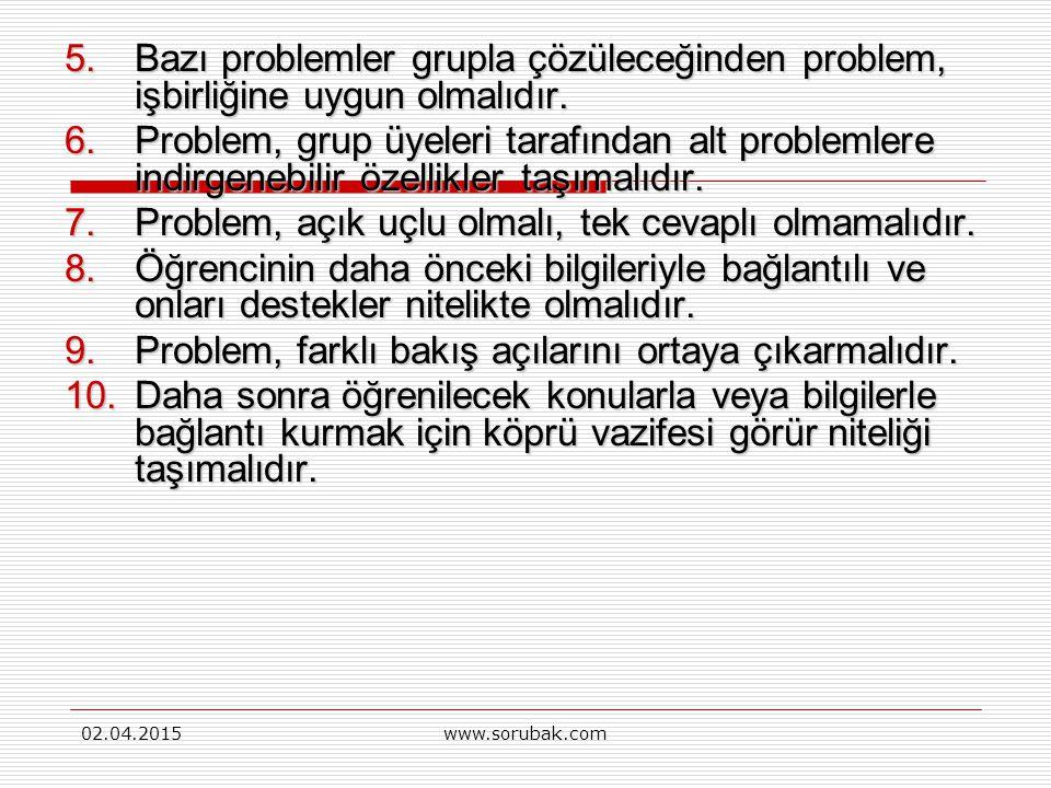02.04.2015www.sorubak.com PDÖ stratejisinin uygulama açısından, uygulamada stratejik olarak kullanılacak olan problemin kalitesi önemlidir.