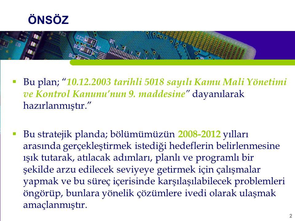 2 ÖNSÖZ  Bu plan; 10.12.2003 tarihli 5018 sayılı Kamu Mali Yönetimi ve Kontrol Kanunu'nun 9.