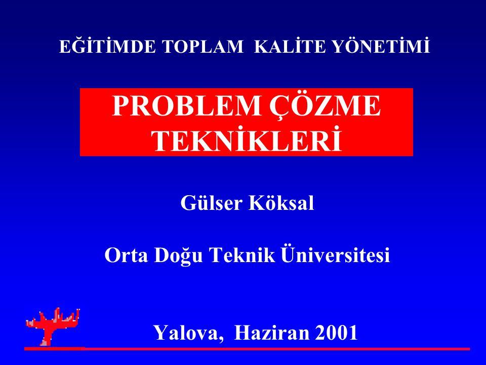 PROBLEM ÇÖZME TEKNİKLERİ Gülser Köksal Orta Doğu Teknik Üniversitesi Yalova, Haziran 2001 EĞİTİMDE TOPLAM KALİTE YÖNETİMİ