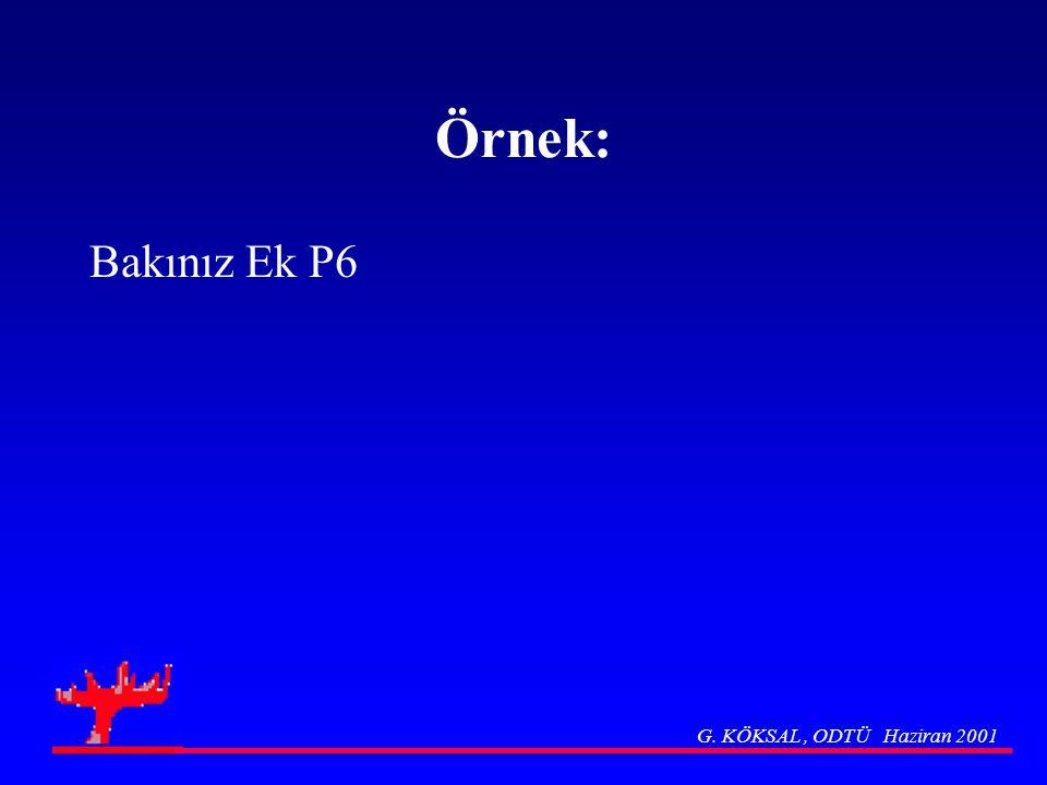 Örnek: Bakınız Ek P6 G. KÖKSAL, ODTÜ Haziran 2001