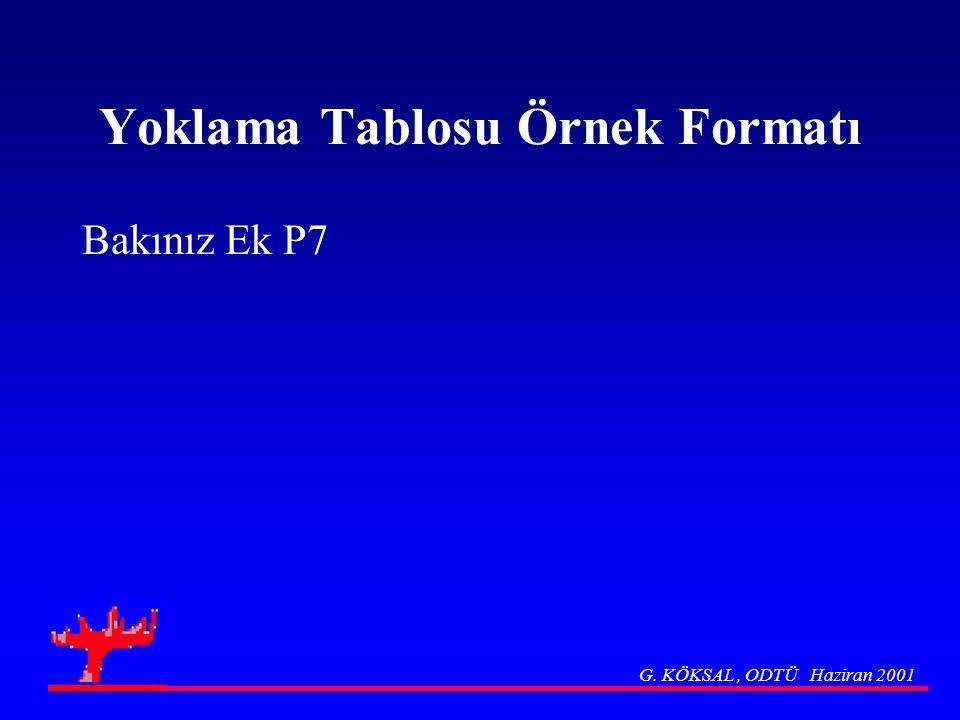 Yoklama Tablosu Örnek Formatı Bakınız Ek P7 G. KÖKSAL, ODTÜ Haziran 2001