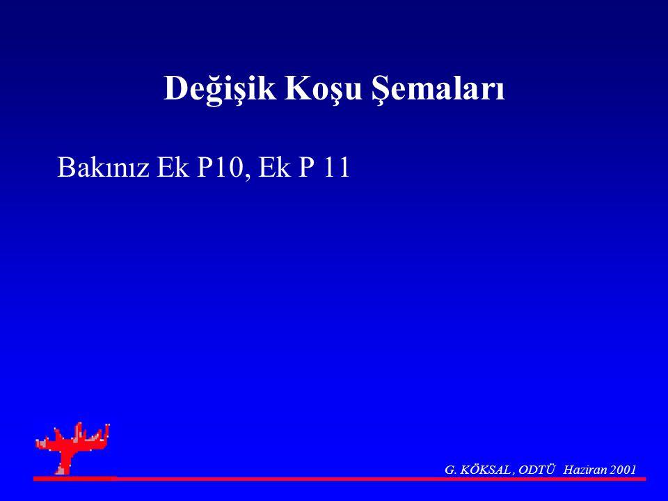 Değişik Koşu Şemaları Bakınız Ek P10, Ek P 11 G. KÖKSAL, ODTÜ Haziran 2001