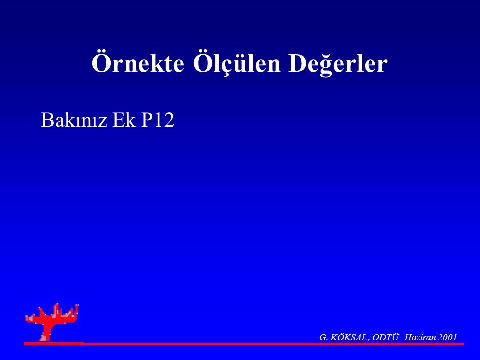 Örnekte Ölçülen Değerler Bakınız Ek P12 G. KÖKSAL, ODTÜ Haziran 2001
