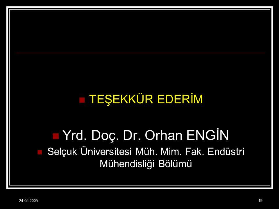 24.05.200519 TEŞEKKÜR EDERİM Yrd. Doç. Dr. Orhan ENGİN Selçuk Üniversitesi Müh. Mim. Fak. Endüstri Mühendisliği Bölümü