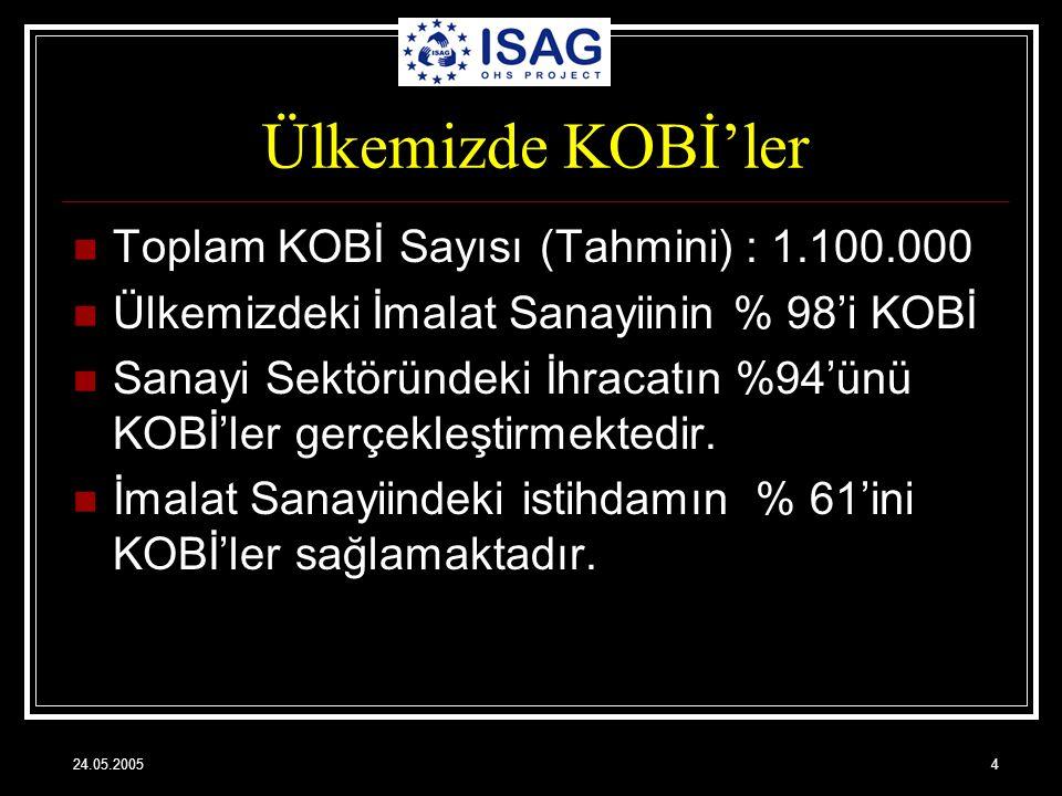 24.05.20054 Ülkemizde KOBİ'ler Toplam KOBİ Sayısı (Tahmini) : 1.100.000 Ülkemizdeki İmalat Sanayiinin % 98'i KOBİ Sanayi Sektöründeki İhracatın %94'ün