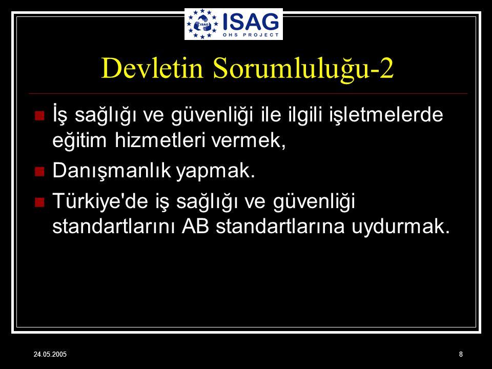 24.05.20058 Devletin Sorumluluğu-2 İş sağlığı ve güvenliği ile ilgili işletmelerde eğitim hizmetleri vermek, Danışmanlık yapmak. Türkiye'de iş sağlığı