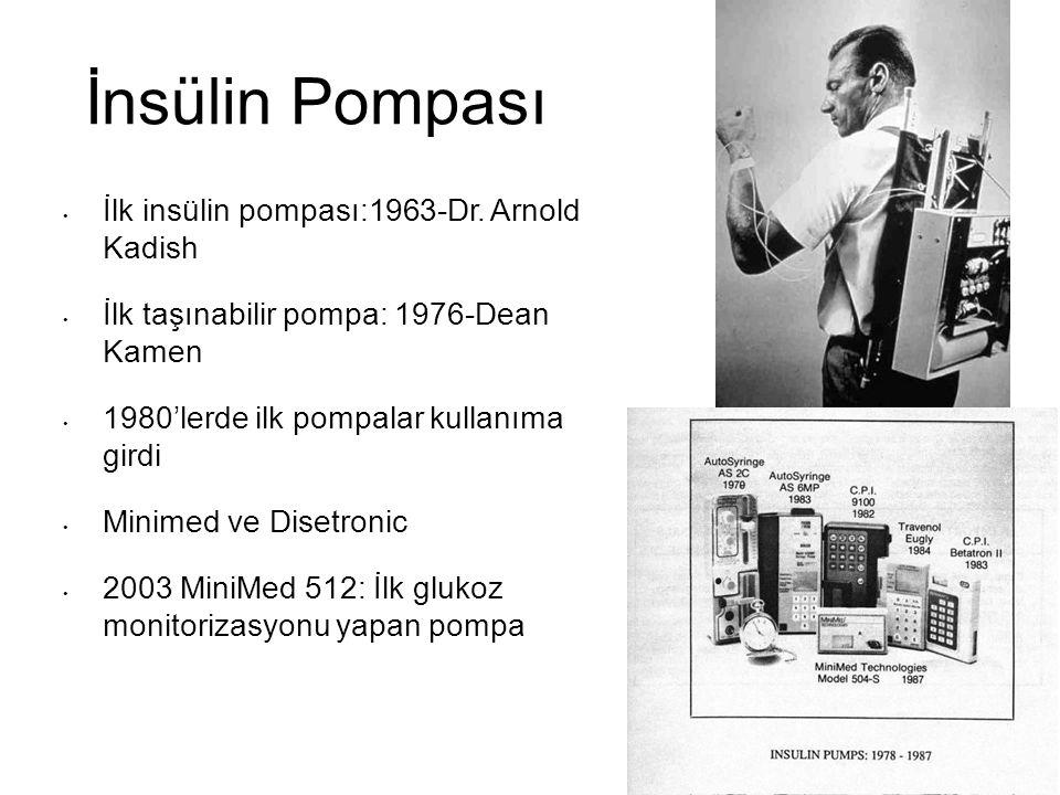 İnsülin Pompası İlk insülin pompası:1963-Dr. Arnold Kadish İlk taşınabilir pompa: 1976-Dean Kamen 1980'lerde ilk pompalar kullanıma girdi Minimed ve D