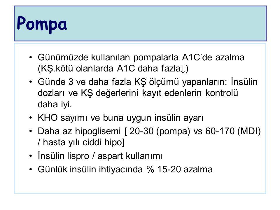Pompa Günümüzde kullanılan pompalarla A1C'de azalma (KŞ.kötü olanlarda A1C daha fazla↓) Günde 3 ve daha fazla KŞ ölçümü yapanların; İnsülin dozları ve