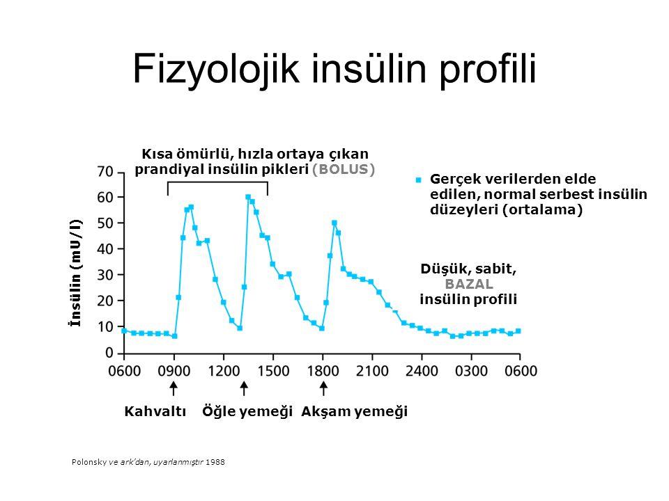 Konvansiyonel insülinler (R ve NPH) bu hedeflere ulaşmamızda yeterli değil Fizyolojik insülin salınımını taklit edemiyor Sürekli subkutan insülin (pompa) İnsülin analogları ile bazal bolus tedavisi