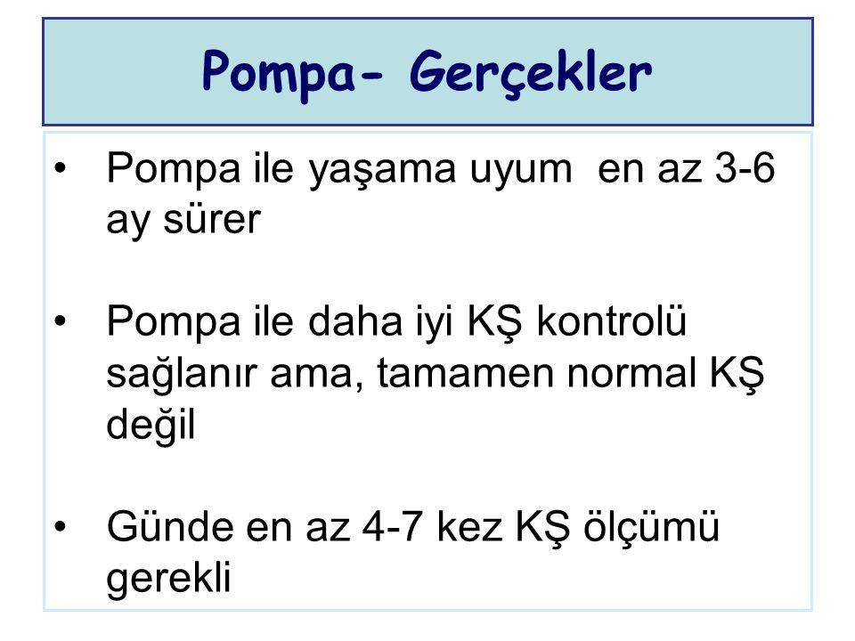 Pompa ile yaşama uyum en az 3-6 ay sürer Pompa ile daha iyi KŞ kontrolü sağlanır ama, tamamen normal KŞ değil Günde en az 4-7 kez KŞ ölçümü gerekli Po