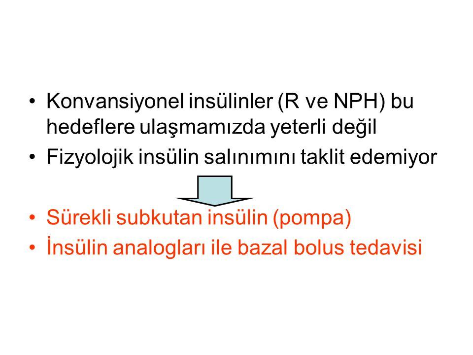 Konvansiyonel insülinler (R ve NPH) bu hedeflere ulaşmamızda yeterli değil Fizyolojik insülin salınımını taklit edemiyor Sürekli subkutan insülin (pom
