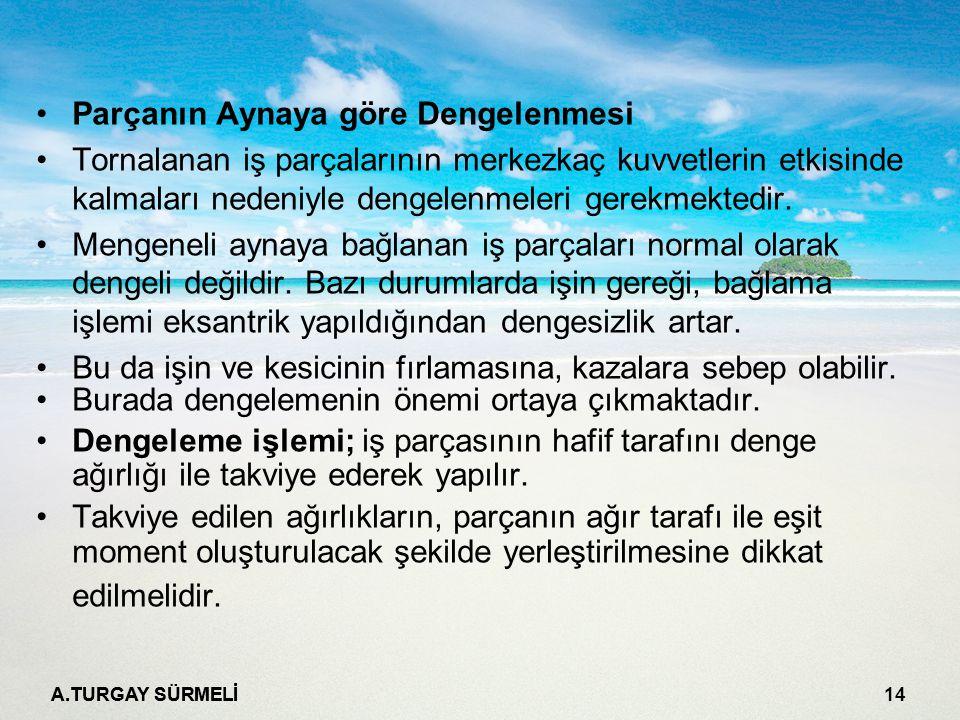 A.TURGAY SÜRMELİ 14 Parçanın Aynaya göre Dengelenmesi Tornalanan iş parçalarının merkezkaç kuvvetlerin etkisinde kalmaları nedeniyle dengelenmeleri gerekmektedir.