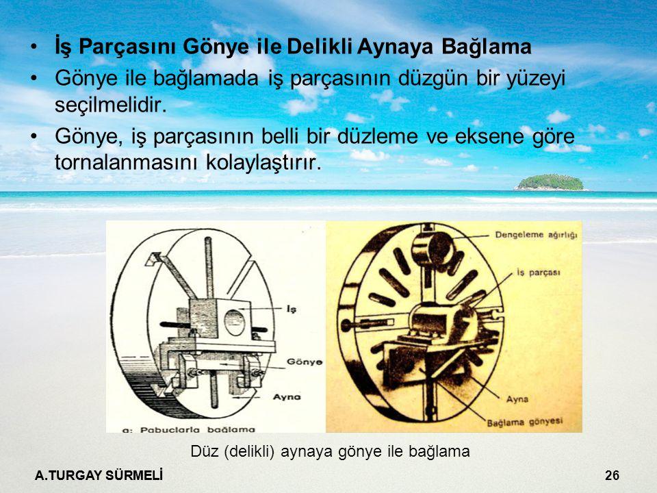 A.TURGAY SÜRMELİ 26 İş Parçasını Gönye ile Delikli Aynaya Bağlama Gönye ile bağlamada iş parçasının düzgün bir yüzeyi seçilmelidir.