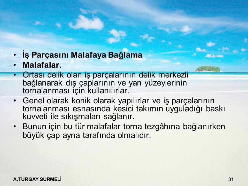 A.TURGAY SÜRMELİ 32 Malafaya alınan iş parçasının dış çapının ve yan yüzeylerinin tornalanması