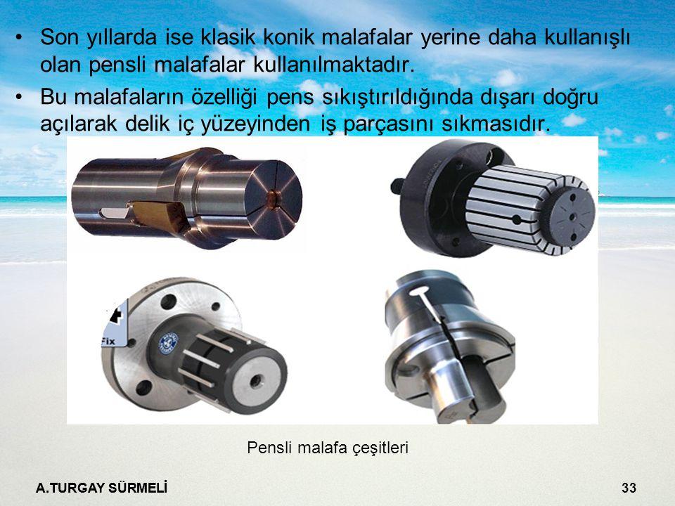 A.TURGAY SÜRMELİ 33 Son yıllarda ise klasik konik malafalar yerine daha kullanışlı olan pensli malafalar kullanılmaktadır.