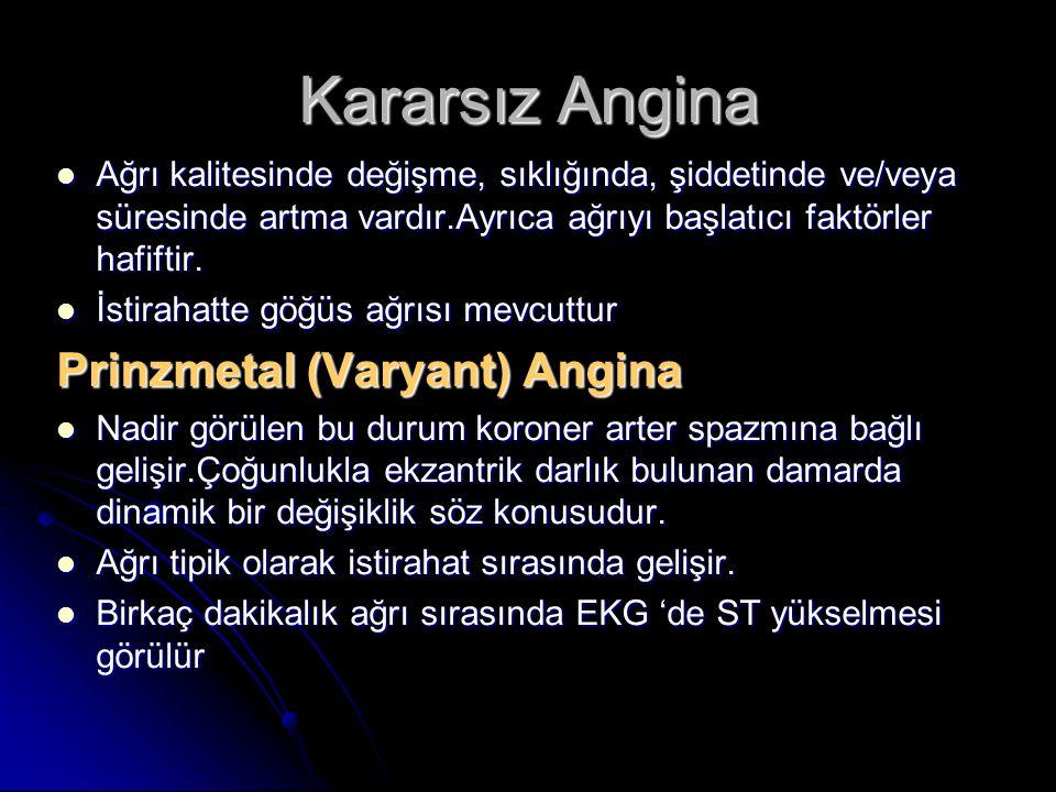Kararsız Angina Ağrı kalitesinde değişme, sıklığında, şiddetinde ve/veya süresinde artma vardır.Ayrıca ağrıyı başlatıcı faktörler hafiftir. Ağrı kalit