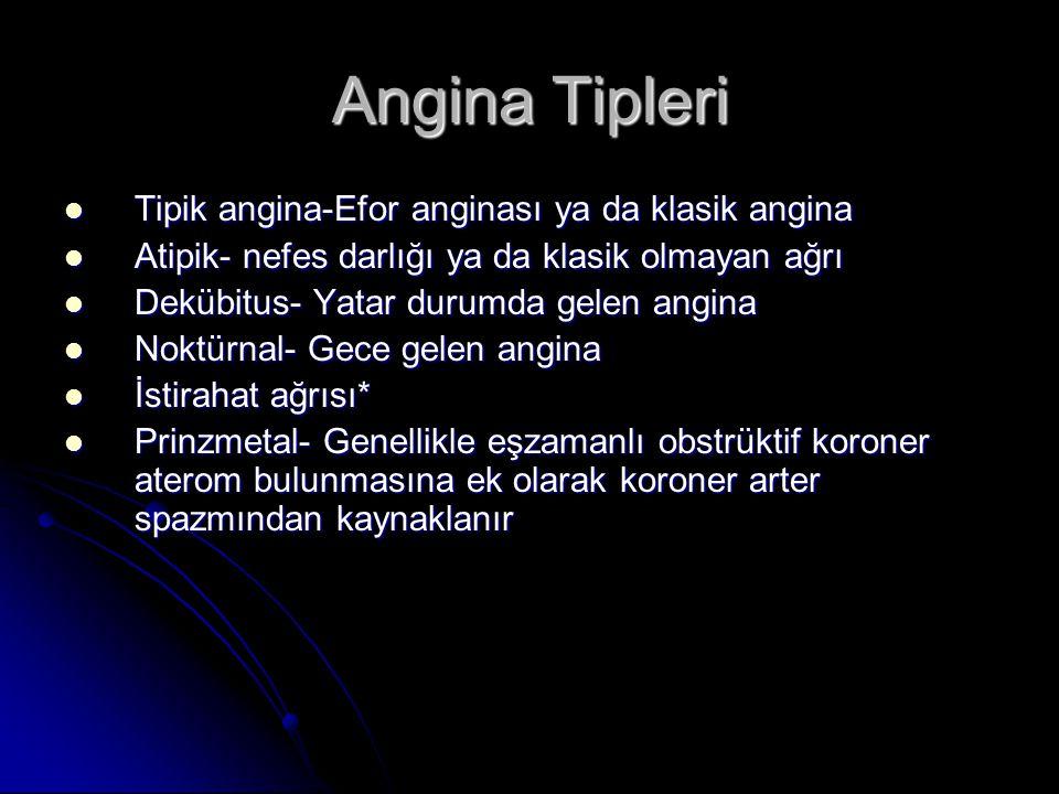 Angina Tipleri Tipik angina-Efor anginası ya da klasik angina Tipik angina-Efor anginası ya da klasik angina Atipik- nefes darlığı ya da klasik olmaya