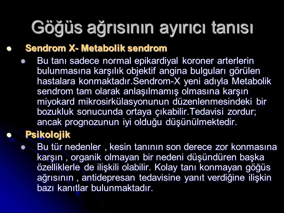 Göğüs ağrısının ayırıcı tanısı Sendrom X- Metabolik sendrom Sendrom X- Metabolik sendrom Bu tanı sadece normal epikardiyal koroner arterlerin bulunmas