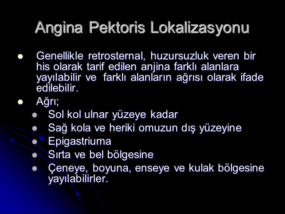 Angina Pektoris Lokalizasyonu Genellikle retrosternal, huzursuzluk veren bir his olarak tarif edilen anjina farklı alanlara yayılabilir ve farklı alan