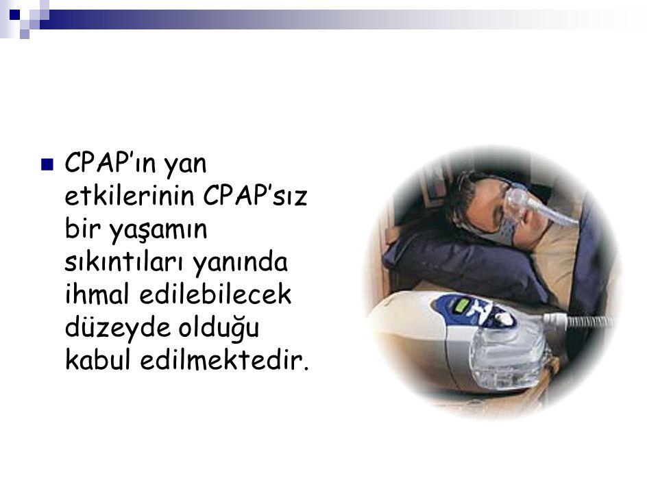 CPAP'ın yan etkilerinin CPAP'sız bir yaşamın sıkıntıları yanında ihmal edilebilecek düzeyde olduğu kabul edilmektedir.