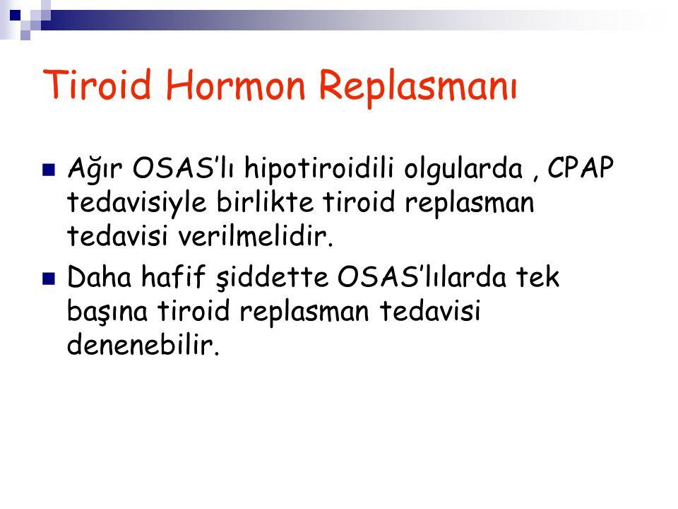 Tiroid Hormon Replasmanı Ağır OSAS'lı hipotiroidili olgularda, CPAP tedavisiyle birlikte tiroid replasman tedavisi verilmelidir. Daha hafif şiddette O