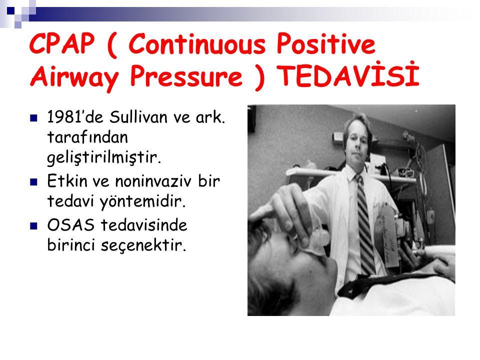 CPAP ( Continuous Positive Airway Pressure ) TEDAVİSİ 1981'de Sullivan ve ark. tarafından geliştirilmiştir. Etkin ve noninvaziv bir tedavi yöntemidir.