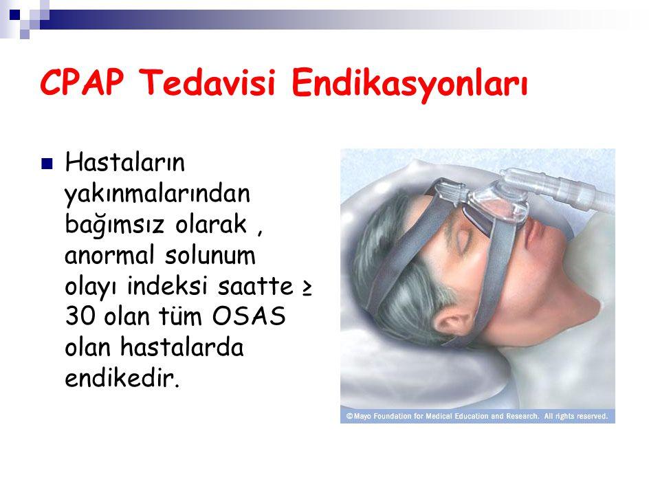 CPAP Tedavisi Endikasyonları Hastaların yakınmalarından bağımsız olarak, anormal solunum olayı indeksi saatte ≥ 30 olan tüm OSAS olan hastalarda endik