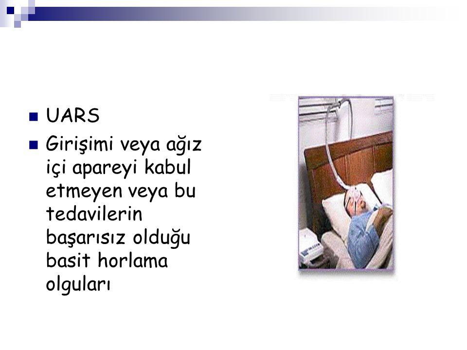 UARS Girişimi veya ağız içi apareyi kabul etmeyen veya bu tedavilerin başarısız olduğu basit horlama olguları
