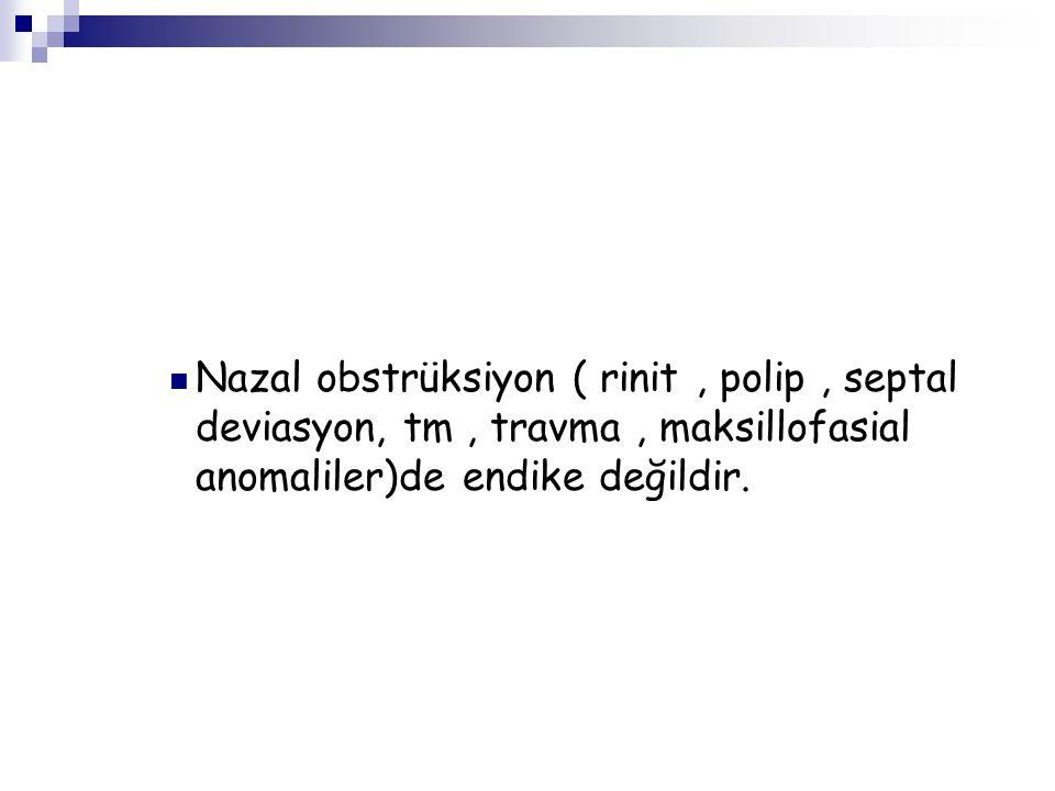 Nazal obstrüksiyon ( rinit, polip, septal deviasyon, tm, travma, maksillofasial anomaliler)de endike değildir.