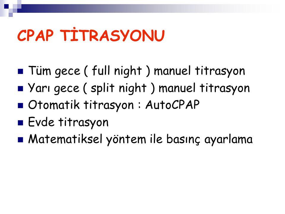 CPAP TİTRASYONU Tüm gece ( full night ) manuel titrasyon Yarı gece ( split night ) manuel titrasyon Otomatik titrasyon : AutoCPAP Evde titrasyon Matem