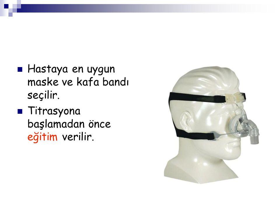 Hastaya en uygun maske ve kafa bandı seçilir. Titrasyona başlamadan önce eğitim verilir.