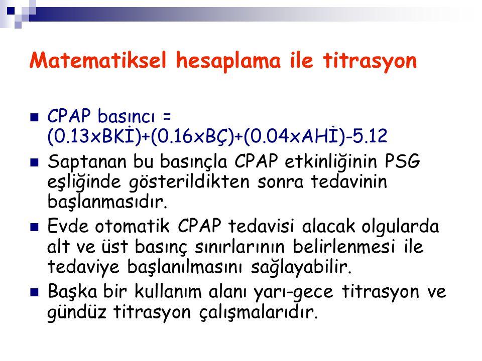 Matematiksel hesaplama ile titrasyon CPAP basıncı = (0.13xBKİ)+(0.16xBÇ)+(0.04xAHİ)-5.12 Saptanan bu basınçla CPAP etkinliğinin PSG eşliğinde gösteril