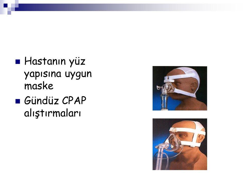 Hastanın yüz yapısına uygun maske Gündüz CPAP alıştırmaları