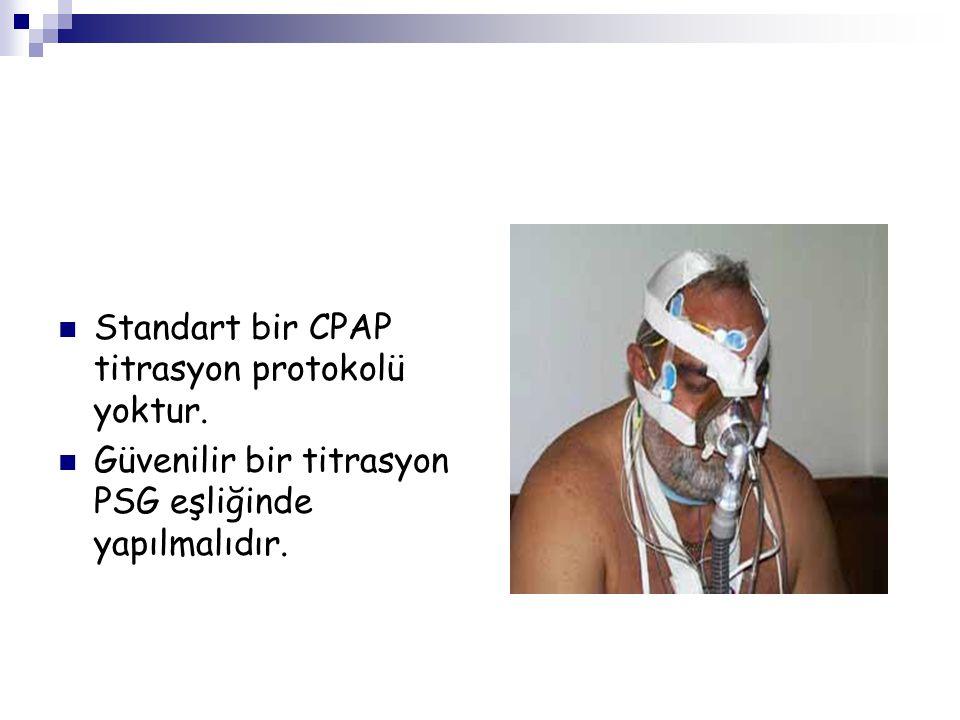 Standart bir CPAP titrasyon protokolü yoktur. Güvenilir bir titrasyon PSG eşliğinde yapılmalıdır.