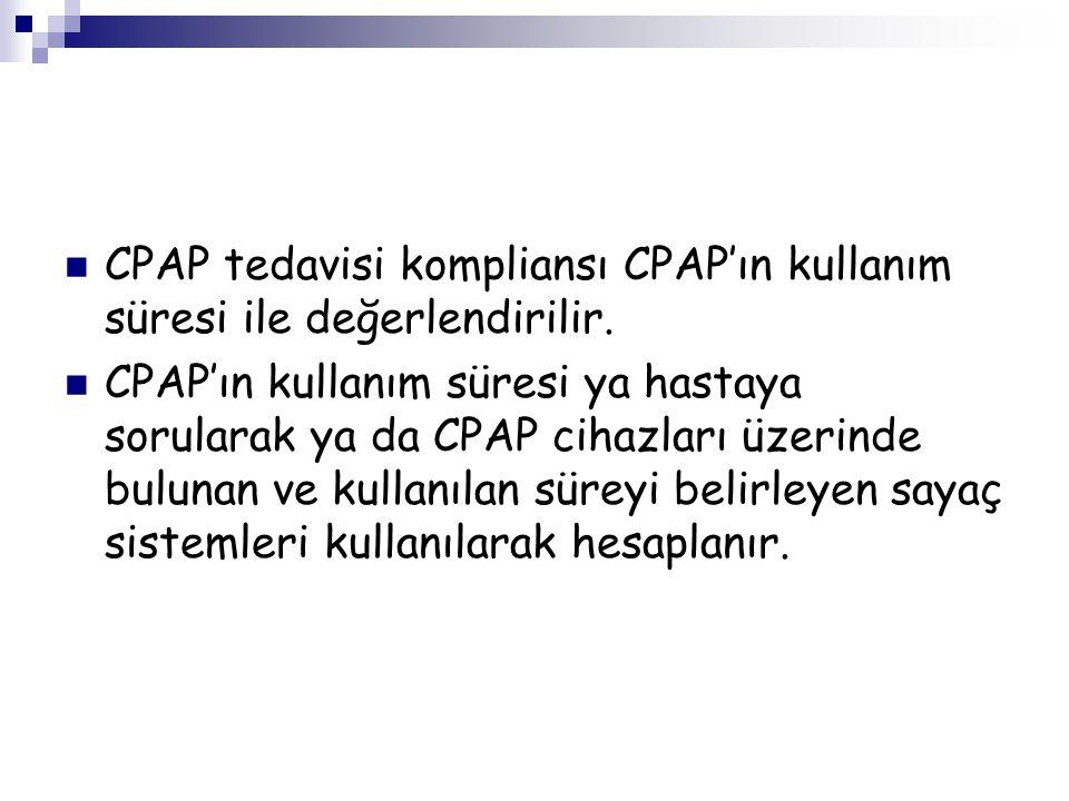 CPAP tedavisi kompliansı CPAP'ın kullanım süresi ile değerlendirilir. CPAP'ın kullanım süresi ya hastaya sorularak ya da CPAP cihazları üzerinde bulun
