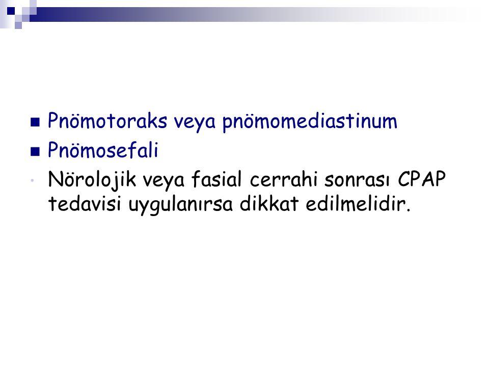 Pnömotoraks veya pnömomediastinum Pnömosefali Nörolojik veya fasial cerrahi sonrası CPAP tedavisi uygulanırsa dikkat edilmelidir.